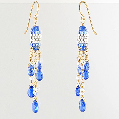 Art Deco-Inspired Kyanite and White Topaz Earrings Handcrafted in 14K Gold Filled