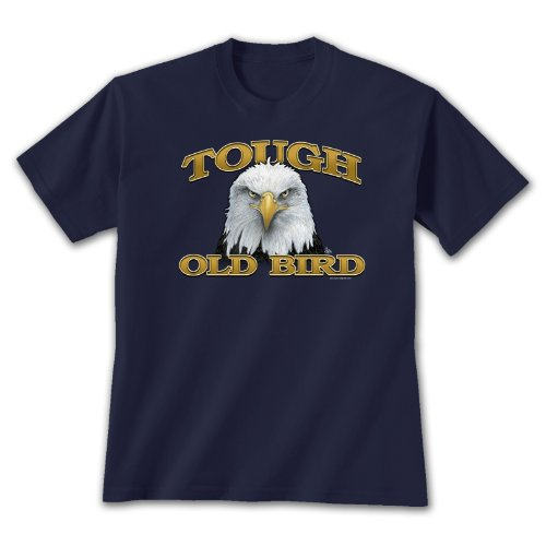 - Earth Sun Moon Tough Old Bird Large T-Shirt Navy Blue, Novelty Gift Apparel