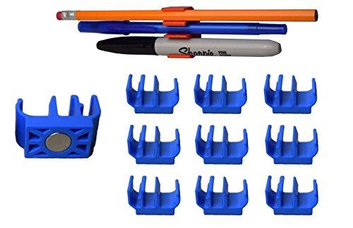 10-pk-blue-magnetic-pencil-pen-and-slim-dry-erase-holder-clip-best-for-fridge-locker-board-cubicle-w