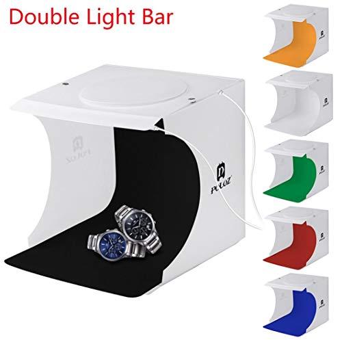 Jujunx Double LED Light Room Photo Studio Photography Lighting Tent Backdrop Cube Box (❤️Multicolor) ()