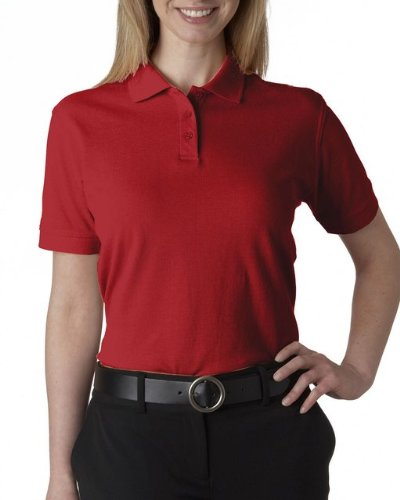 UltraClub Women's Classic Pique Polo Shirt - Red - Small