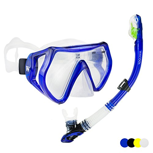 WACOOL Snorkeling Package Set for Adults, Anti-Fog Coated Glass Diving Mask, Snorkel with Silicon Mouth Piece,Purge Valve and Anti-Splash Guard.(Blue) (Best Mask Snorkel Set)