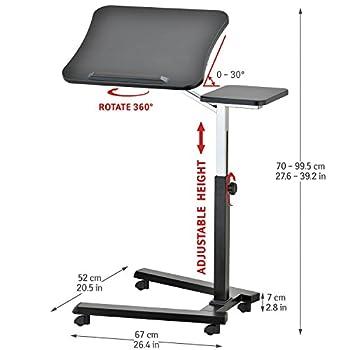 Tatkraft Joy Portable Adjustable Folding Laptop Stand Table Black