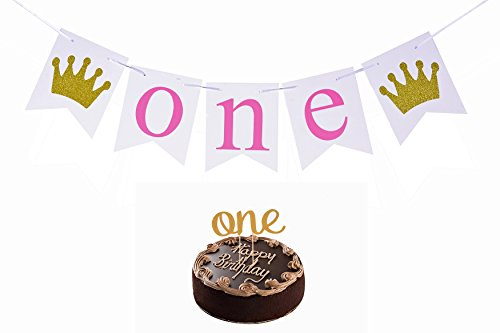 Golden Celebration Favor Cake - First Birthday Celebration Set for Baby Girl Banner and and Cake Topper ONE Year Party Decorations Flag My 1st Birthday Paper Garland Bunting Party Supply (Pink)