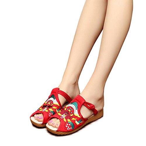Veowalk Cotton Embroidered Women's Canvas Platforms Slippers Peep Toe Comfort Flat Slide Sandal Shoes EU38 Red ()