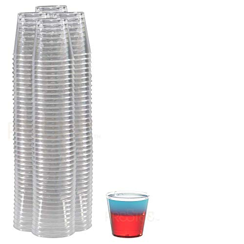 Small Clear Plastic Cups – Shot Glasses | 1 oz. 100 Pack | Hard Disposable Cups | Plastic Cocktail Glasses | Plastic Drinking Cups | Plastic Party Cups | Mouth Wash Cups | Bulk Wedding  Tumblers