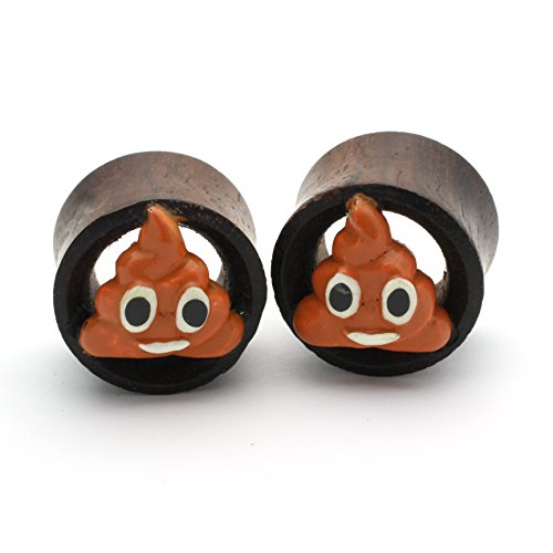 Tic wood Poop emoji Plugs Double Flare Tunnel Organic Wood Ear Plug Gauges Body Piercing Jewelry Pair (1/2