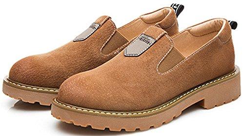 Aisun Damen Britisch Stil Rund Zehe Loafers Low-Top Ohne Verschluss Slippers Braun 37 EU EIvch