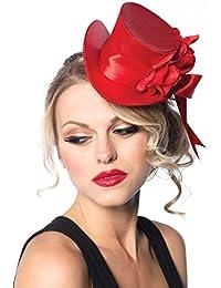 Mini Satin Top Hat Flower & Bow Mardi Gras Ringmaster Costume Accessory
