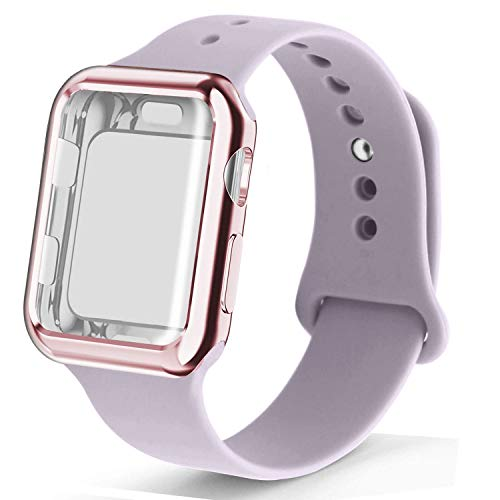 RUOQINI Smartwatch Band with Case Compatiable for Apple Watch Band, Silicone Sport Band and TPU Case for Series 4/3/2/1,Lavender Band with Rose Pink Case in 38SM Size from RUOQINI