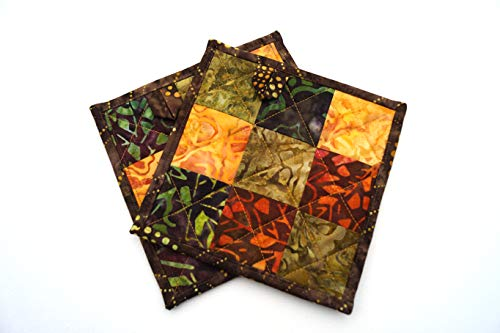- Batik Quilted Fabric Pot Holders Set in Fall Color Patchwork