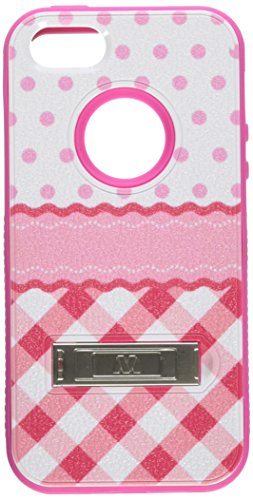 Asmyna VERGE Hybrid Protector Cover with Stand for Apple iPhone 5/5S - Retail Packaging - Dots-Checkers/Hot Pink