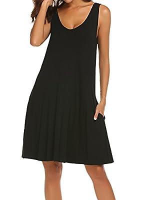 LuckyMore Women's V Neck Sleeveless Criss Cross Back Pockets Casual Loose T-Shirt Dress S-3XL