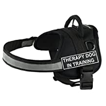 Dean & Tyler Works Harness, Therapy Dog In Training, Medium-Fits Girth, 71cm to 97cm, Black/White