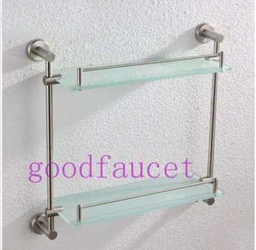 GOWE Luxury Brushed Nickel Brass Wall Mounted Bathroom Shower Shelf Glass Tiers Storage Holder by Gowe