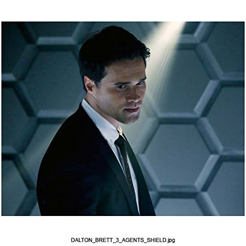 Agents of S.H.I.E.L.D. (TV Series 2013 - ) (8 inch by 10 inch) PHOTOGRAPH Brett Dalton Black Suit From Chest Up Large Honeycomb Pattern on Wall in Background Pose 2 kn