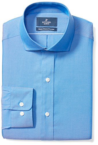 BUTTONED DOWN Men's Classic Fit Cutaway-Collar Solid Non-Iron Dress Shirt (No Pocket), French Blue, 16.5