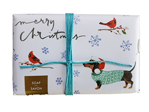Doxie Cardinal Merry Christmas Theme Scented Bar Soap Wiener Dachshund in Holiday Attire Watching Bird