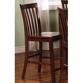 Rich Walnut Counter Height Chairs, Set Of 2 By Coaster Furniture