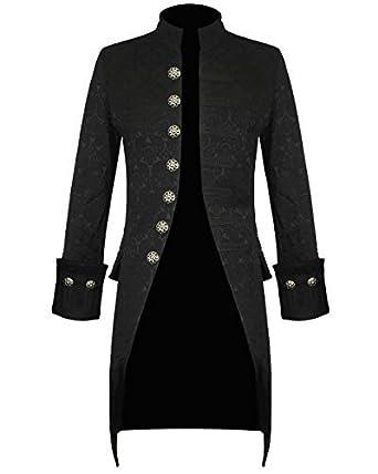 NOUVEAU HOMME NOIR fait à la main veste gothique Fantaisie victorien  steampunk redingote manteau - Noir c6717bf61de
