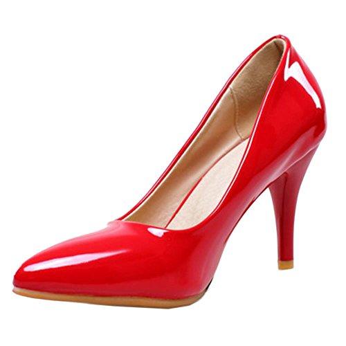 Classique Mode Talon Aiguille Bureau Taille Talon Bas Rouge COOLCEPT Haut Escarpins Femme Grand 1Yq6wp