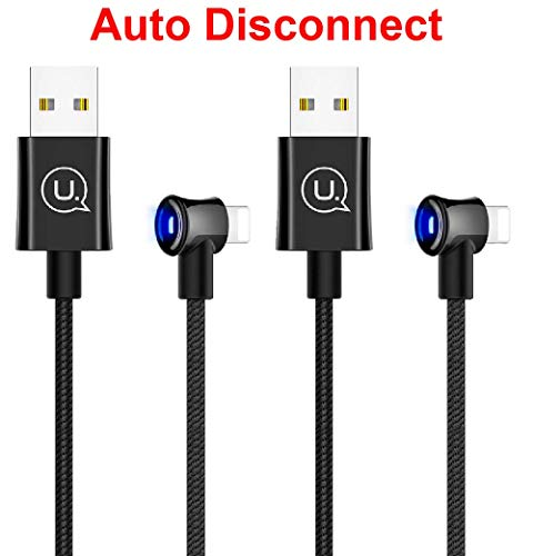 Power Off/On Smart Auto Disconnect USB 90 Degree Right Angle Design Game Cable LED Nylon Braided Sync Charge Data 4FT/1.2M Cable Compatible iPhone/iPad Pro/Air,iPad Mini,iPod (2 Pack Black, 4FT)