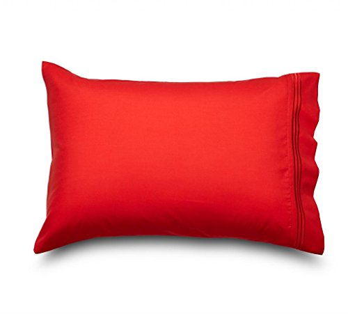 Queen Red Amadora Double Brushed Microfiber Luxury Pillowcase Set - The Ultimate in Breathability and Comfort, These Highly Durable Microfiber Red Pillowcases are the Highest Quality on the Market; They Don't Wrinkle, are Super Soft to the Touch, Never Shrink,& Breathe 50% Better Than Cotton