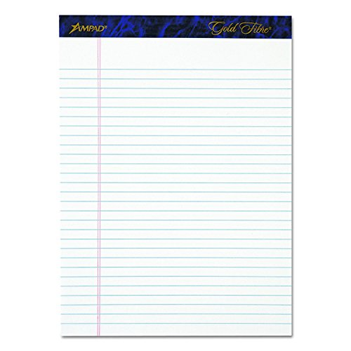 Ampad Gold Fibre Writing Pads, Legal/Wide Rule, Letter Size (8 1/2 in x 11 3/4 in), White, Four 50-Sheet Pads per Pack (20-031) 3-Pac) by Ampad