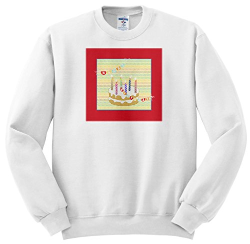 - 3dRose Beverly Turner Birthday Design - Six Candles On Cake, Happy Birthday On Flag From Candle To Candle - Sweatshirts - Youth Sweatshirt Large(14-16) (SS_274466_12)