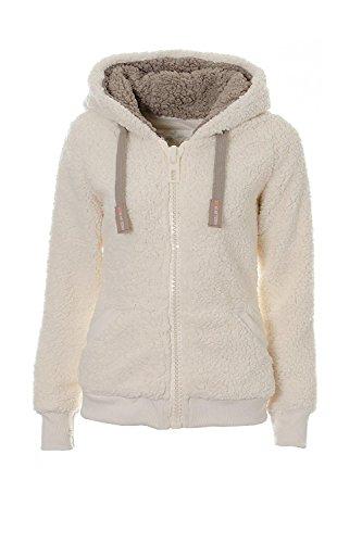 Kooos New Ladies Womens Soft Teddy Sherpa Fleece Hooded Jumper Hoody Jacket Coat (DK008-White, XL)