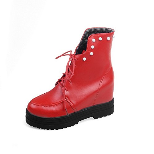 AdeeSu Womens Bandage Heighten Inside Platform Imitated Leather Boots Red GqHtr