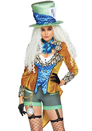 Leg Avenue Men's 4 Pc Classic Mad Hatter Costume, Multi, Xs -
