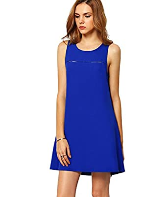 ROMWE Women's Summer Casual Sleeveless Crew Neck Cocktail Party Dress