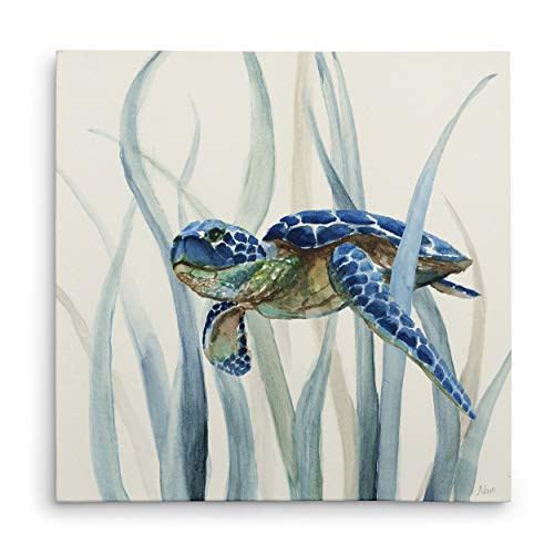 Seagrass Canvas Wall Decor - WEXFORD HOME Turtle in Seagrass II Gallery Wrapped Canvas Wall Art, 24x24,