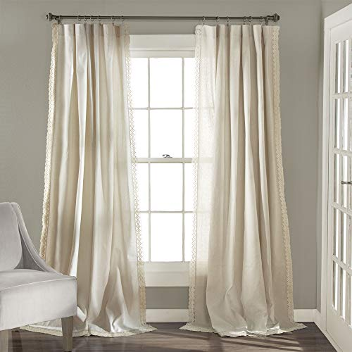 "Lush Decor Rosalie Window Curtains Farmhouse, Rustic Style Panel Set for Living, Dining Room, Bedroom (Pair), 84"" x 54"", Ivory 1"