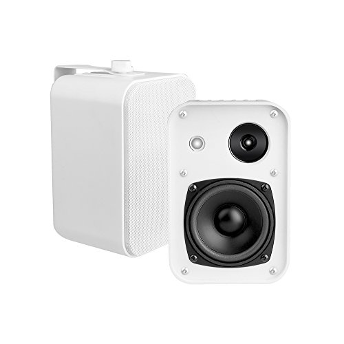 OSD Audio 4″ 3-Way Outdoor Patio Speaker Pair – Weather Resistant, White – AP450