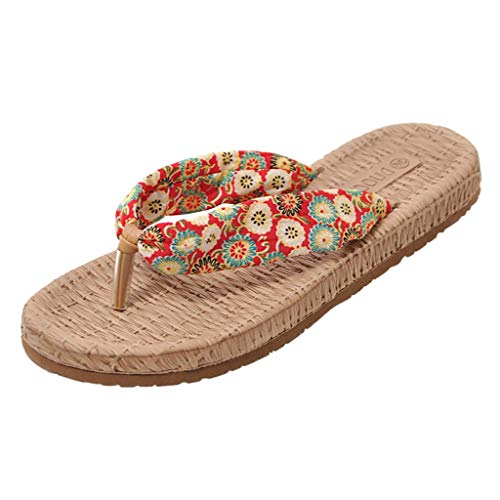 Woman Fashion Floral Print Boho Flat Slippers Casual Weaved Bottom Toe-Post Flip Flops Non Slip Platform Beach Slippers Shoes (Red, 7 M US)