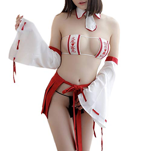 TOMORI Womens Japanese Witch Cosplay Lingerie Anime Fancy Uniform Sexy Strappy Bikini Lingerie Set -