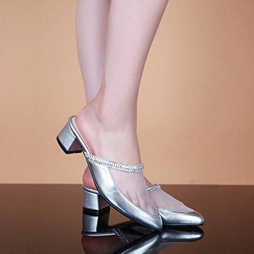 Sintética Awxjx Mujer Diamantes Baotou Artificiales Y Flips Piel Gruesas Plata Con Para Verano De Puntas rxYIrq