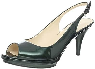 Nine West Women's Sharina Slingback Pump,Dark Green Patent,9.5 M US