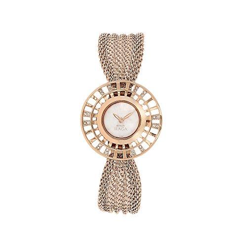 Style Gold Dial (Titan Raga Aurora ,Swarovski Crystal, Mother of Pearl Dial, Gold/Silver/Brass Metal, Jewellery Design, Bracelet Style, Designer, Quartz Glass, Water Resistant Wrist Watch)