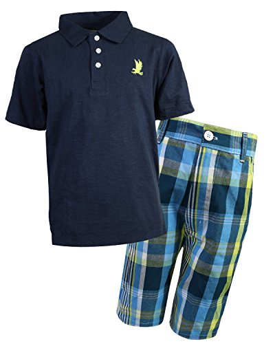 Plaid Boys Shorts (Quad Seven Boys Polo Top and Plaid Short Set, Navy, Size 16/18')