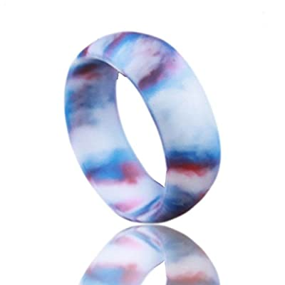 Silicone Wedding Band. Red, White and Blue swirl. Safe and Durable Silicone Wedding Ring for the Active Lifestyle.