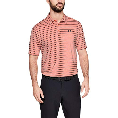 Under Armour Men's Playoff Golf Polo 2.0, Papaya/Pitch Gray, Large
