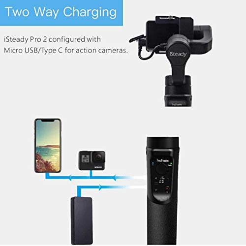 Hohem iSteady Pro 2 Gimbal 3-Axis Stabilizer for Action Camera Hero 7/6/5/4/3+/3,Sony RX0,Yi Cam 4K,AEE,SJCAM,DJI OSMO Actioncam, Splashwaterproof,with Tripod and extra Extension Rod