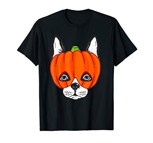 Boston Terrier Halloween Shirt Funny Dog Wear Pumpkin Mask ()