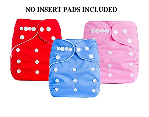Ineffable Quirk Reusable Baby Washable Cloth Cotton Diaper- Combo of 3 Pieces (Multi Colours) (No Insert Pads Included)