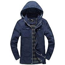 Wantdo Men's Cotton Fashion Windbreaker Jackets With Removable Hood Blue US X-Large