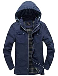 Wantdo Men's Cotton Lightweight Jacket With Removable Hood US Small Blue