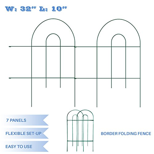 E&K Sunrise Folded Garden Fence 32-Inch High by 10-Inch 7 pieces for Garden Fencing Patio Plants Decorative Landscape in color Green by E&K Sunrise